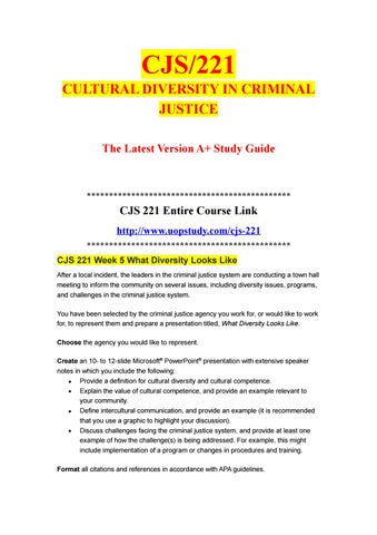 CJS 221 Week 5 What Diversity Looks Like- uopstudy.com by uopx003 - issuu