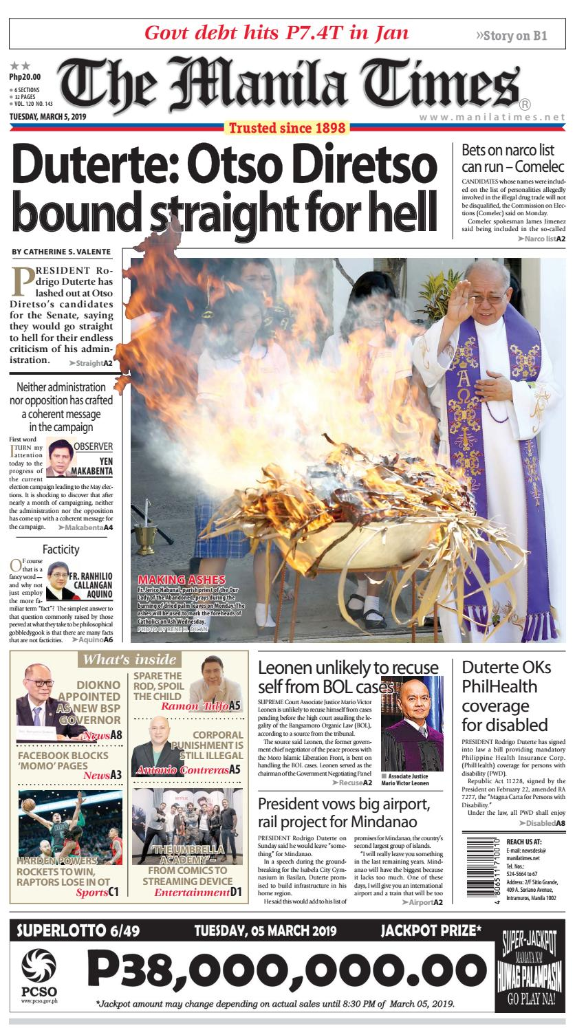 THE MANILA TIMES | MARCH 05, 2019 by The Manila Times - issuu