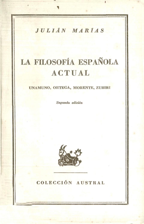 Julián Marías La Filosofía Española Actual 1948 By