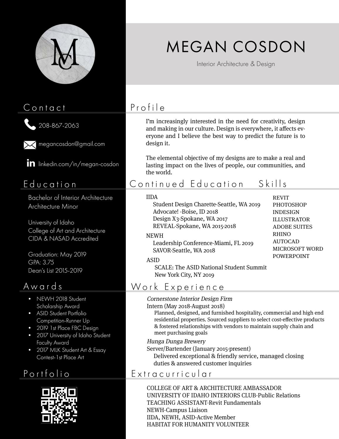 2019 interior design resume by megan cosdon