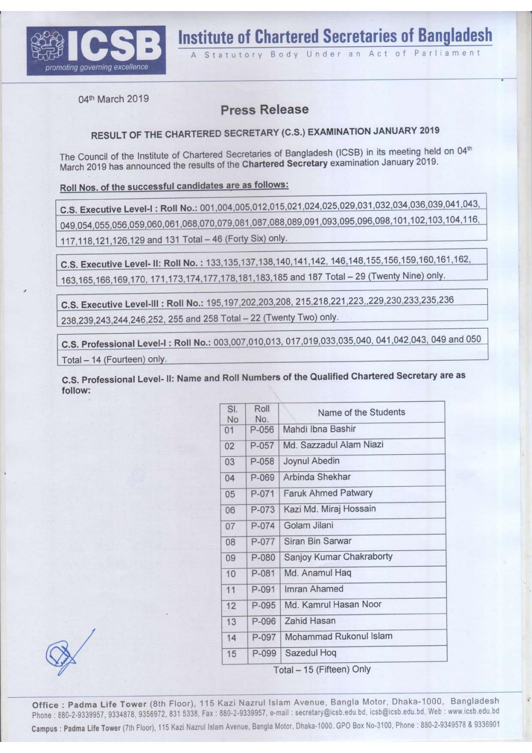 CS Result January 2019 by ICSB Bangladesh - issuu