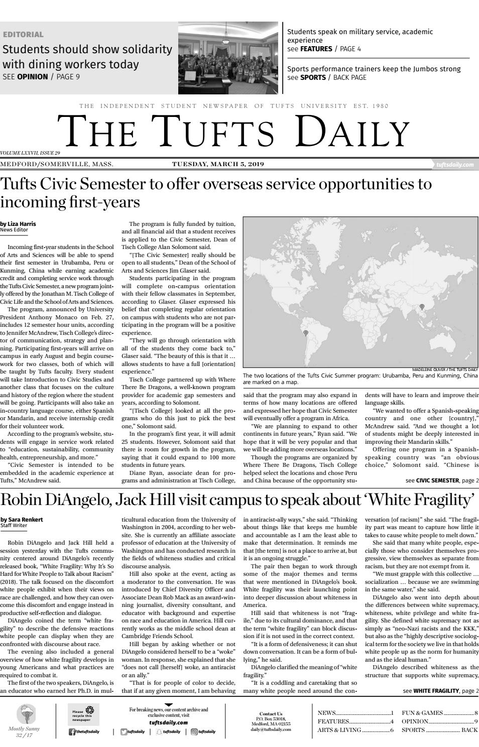 5b5e6f414a5 The Tufts Daily - Tuesday, March 5, 2019 by Tufts Daily - issuu