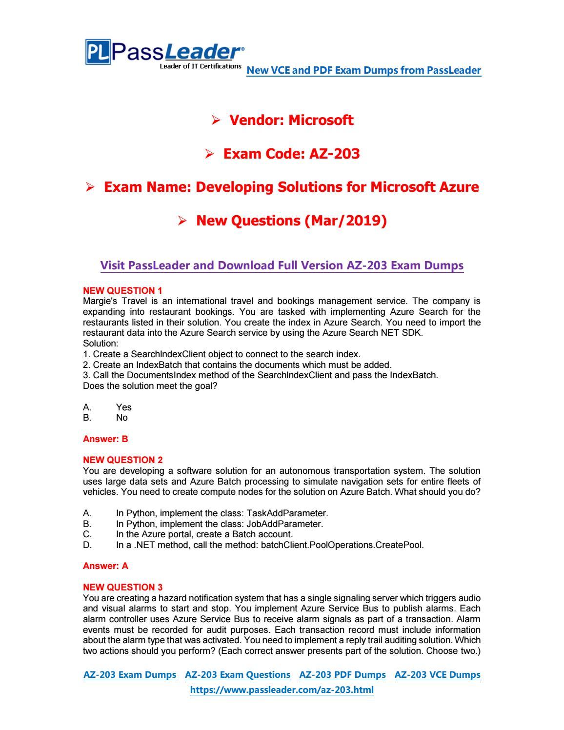 2019-New-PassLeader-AZ-203-Exam-Dumps-VCE-PDF-Braindumps