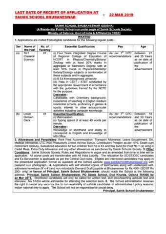Sainik School Bhubaneswar Hiring Chemistry Candidates