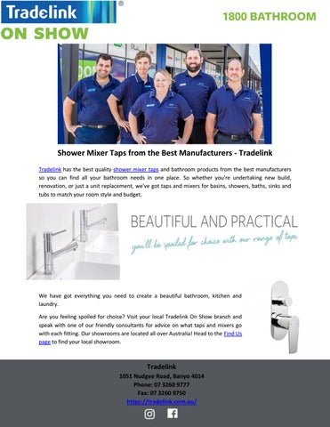 Shower Mixer Taps From The Best Manufacturers Tradelink By