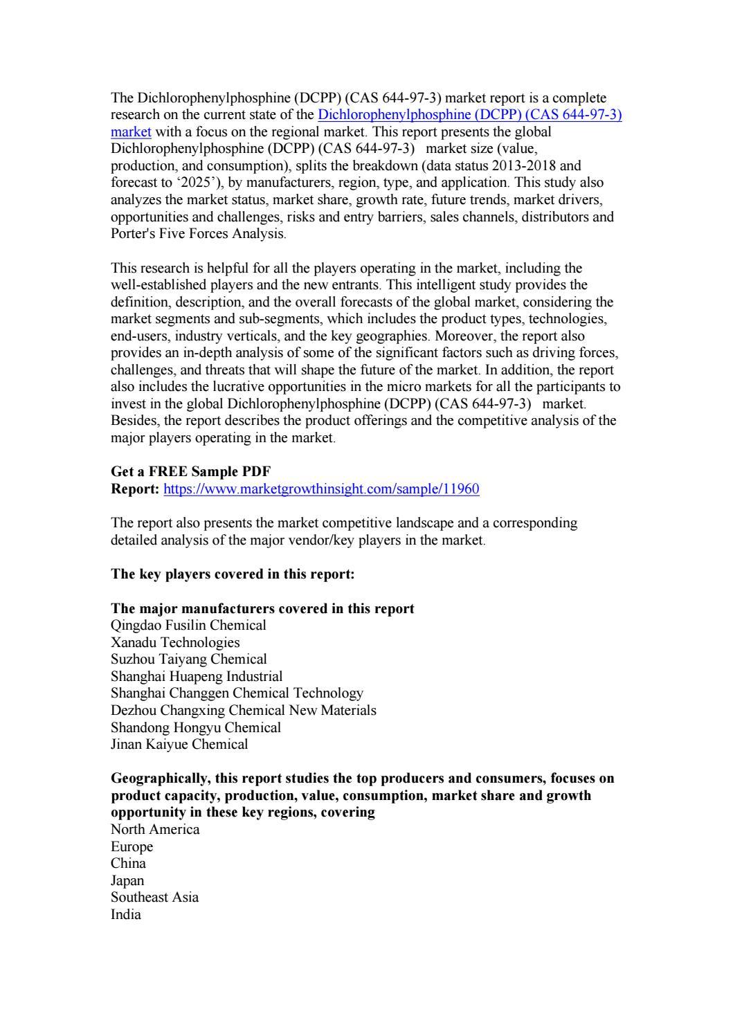 Dichlorophenylphosphine (DCPP) (CAS 644-97-3) Market Analysis and