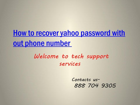 how to recover yahoo password without phone number 1-888-704