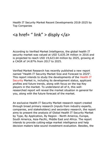 Health IT Security Market Recent Developments 2018-2025 by