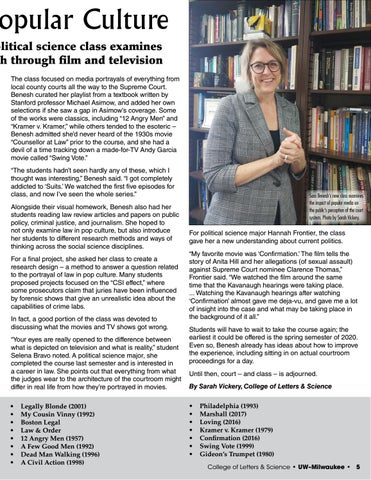 Page 5 of Law Through Popular Culture: Sara Benesh's new political science class examines courts through film and TV
