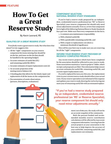 Page 22 of How To Get a Great Reserve Study By Kevin Leonard, RS