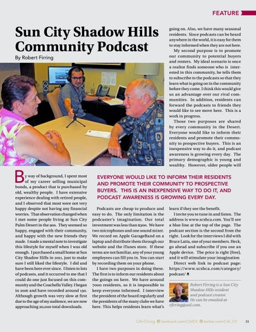 Page 31 of Sun City Shadow Hills Community Podcast By Robert Firring