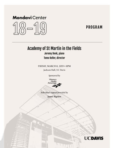 Academy Of St Martin In The Fields Program By Robert And Margrit