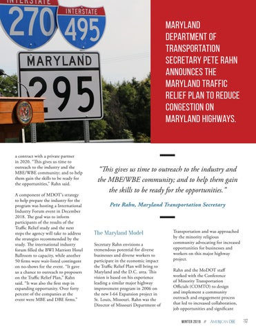 Page 37 of Maryland Traffic Relief Plan to Provide Opportunity