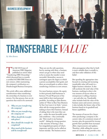 Page 41 of Transferable Value for DBE Firms