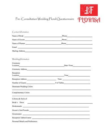 Florisa Wedding Questionnaire By Nik Gratton Issuu