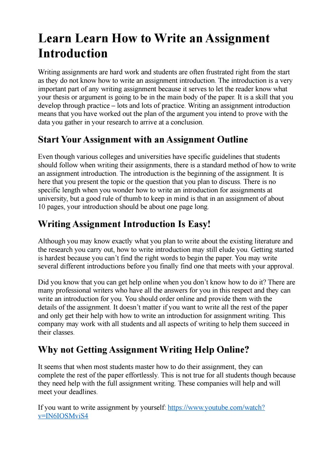 How to write assignment introduction