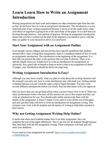How To Write A Assignment Introduction
