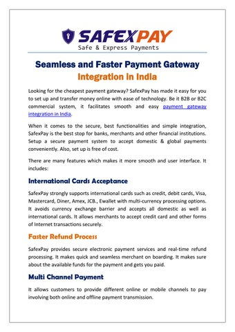 Seamless and Faster Payment Gateway Integration in India by SafexPay