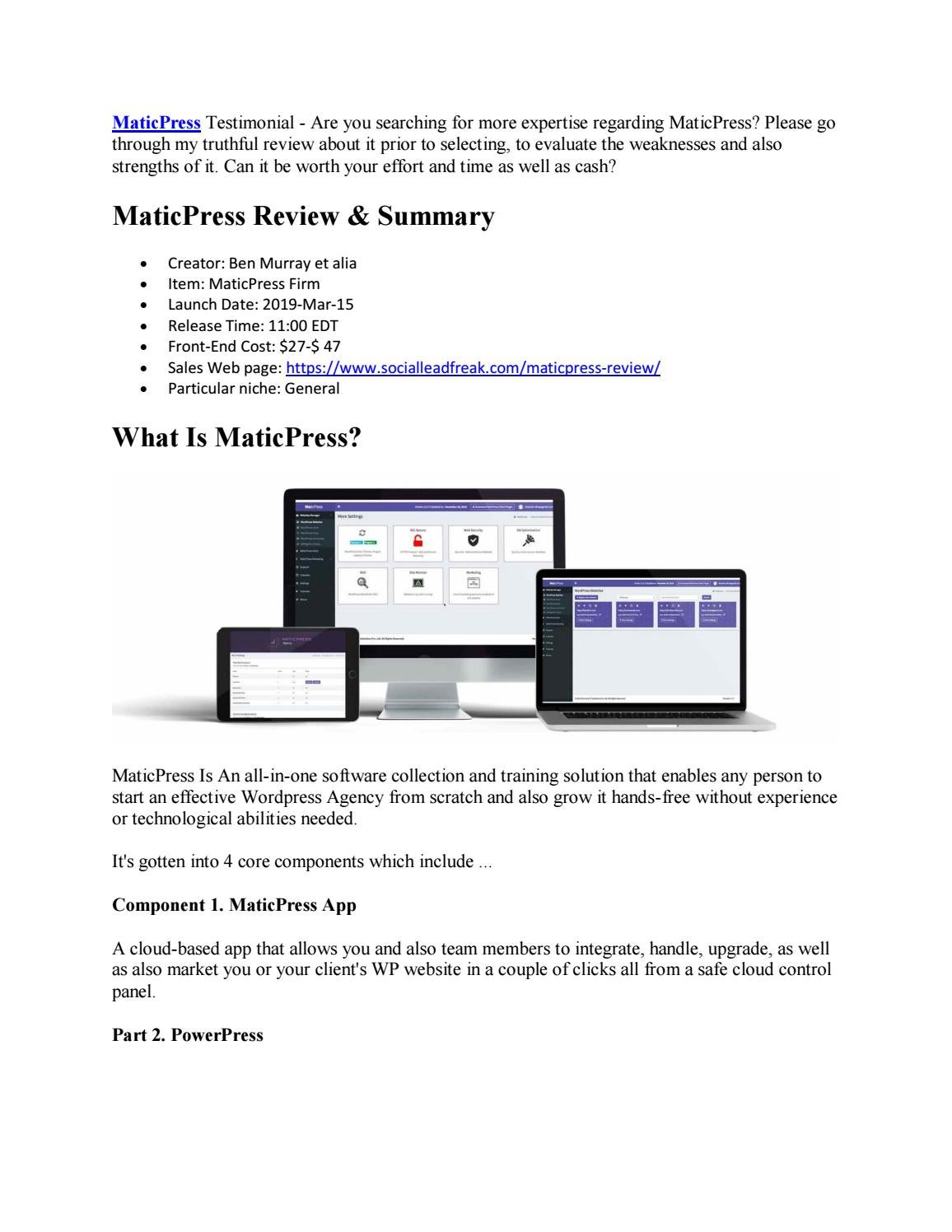 MaticPress Review Should I Grab It by richardlarue - issuu