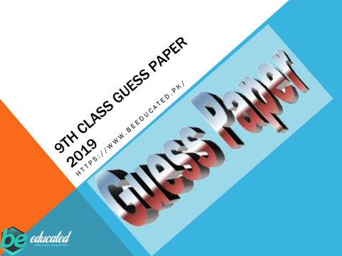9th class guess paper 2019 by jessica3006 - issuu