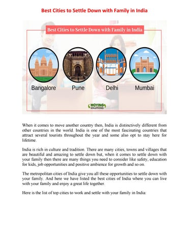 Best Cities to Settle Down with Family in India by SUNITA - issuu