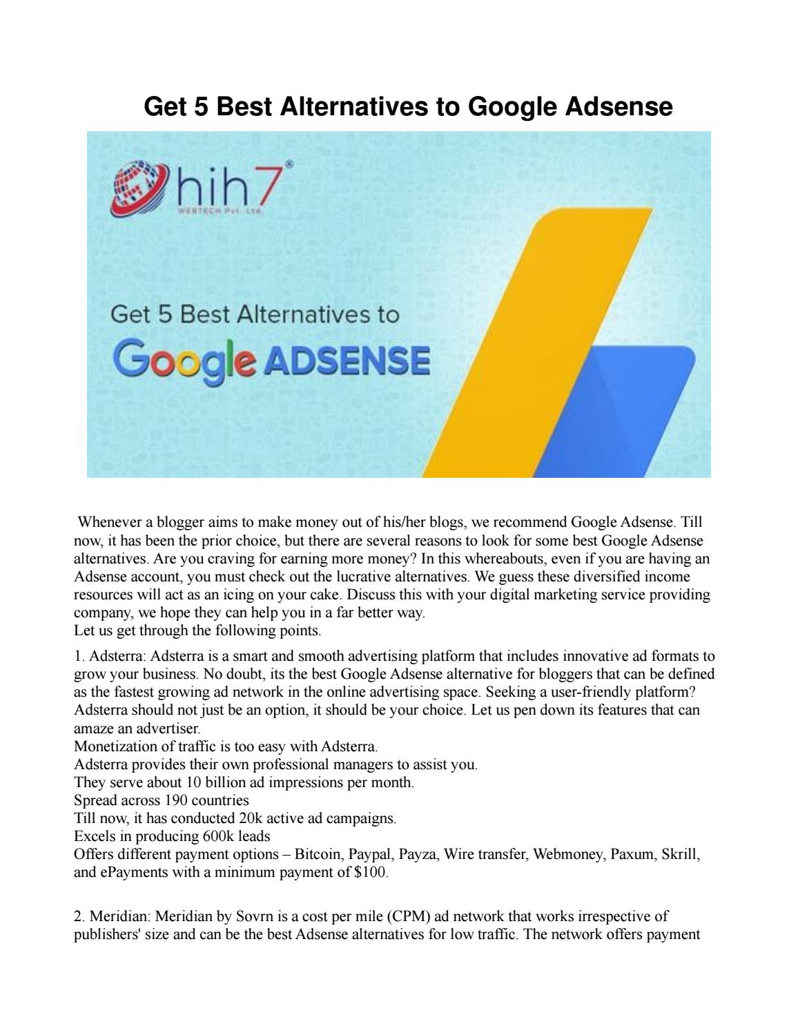 Get 5 Best Alternatives to Google Adsense by Hih7 Webtech