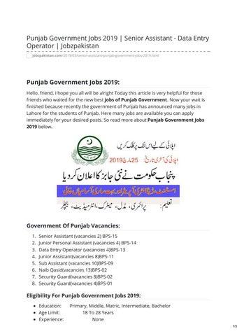 Punjab Government Jobs 2019 Senior Assistant - Data Entry Operator  Jobzpakistan