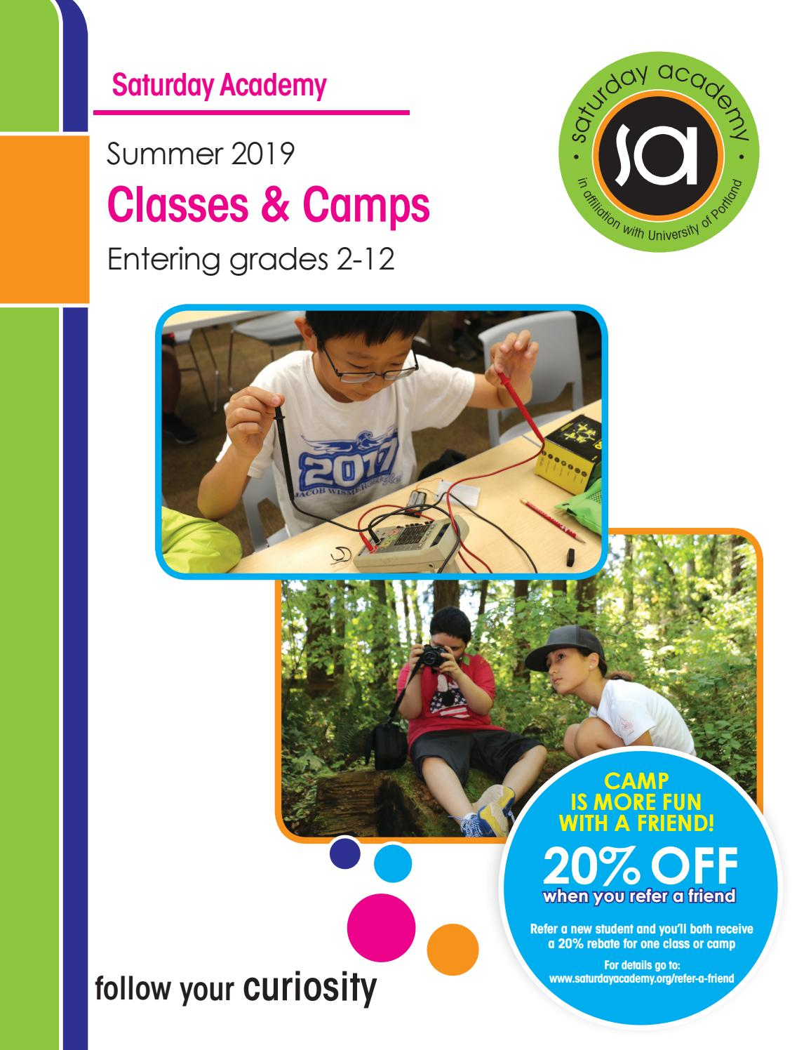 Saturday Academy Summer 2019 Classes & Camps Catalog by