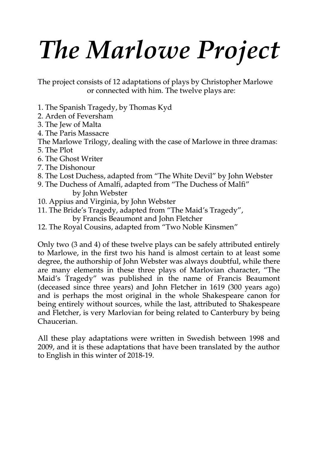 Pardon Me While I Rant About Dismal >> The Marlowe Project By Christian Lanciai Issuu