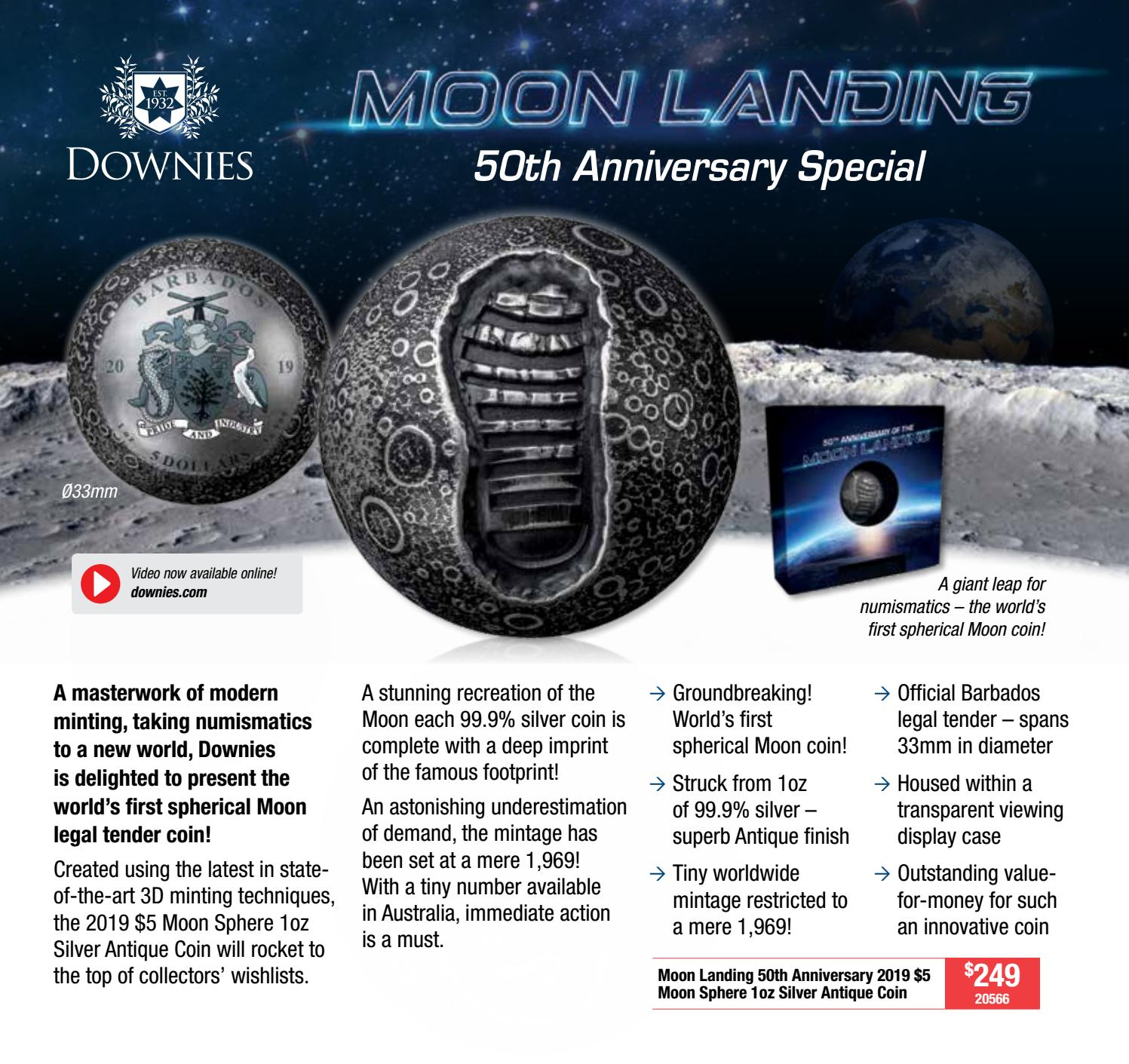 Australia 2019 6-Coin UNC Year Set 50th Anniversary Moon Landing Special 5c $1
