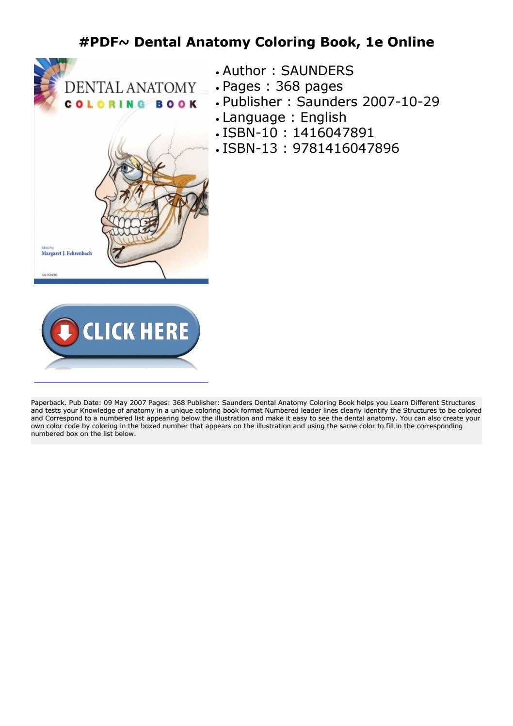 PDF~ Dental Anatomy Coloring Book, 1e Online by poyamuxev ...