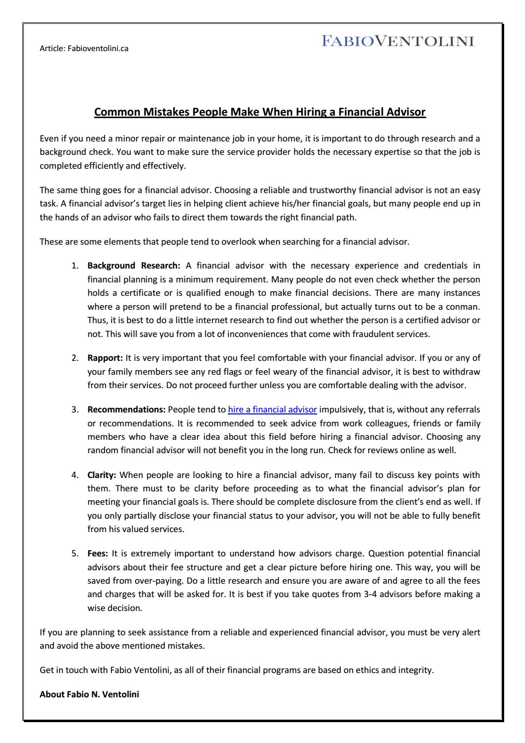 Common Mistakes People Make When Hiring A Financial Advisor By Fabio Ventolini Issuu