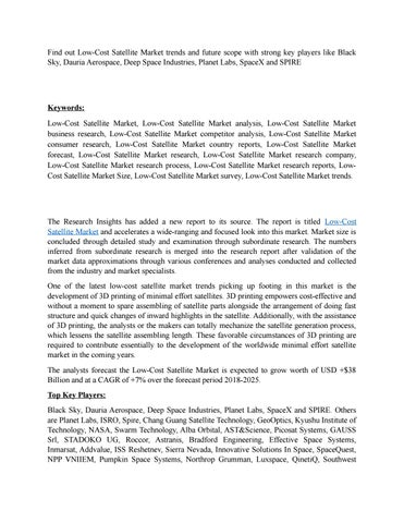 Low-Cost Satellite Market by Apurva Phulari - issuu