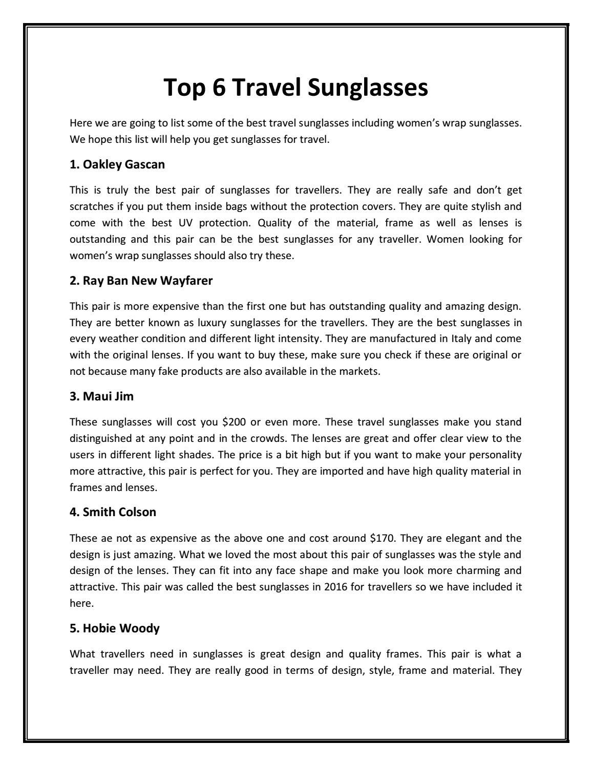 4f1f037a984c Top 6 Travel Sunglasses by liivevisionau - issuu