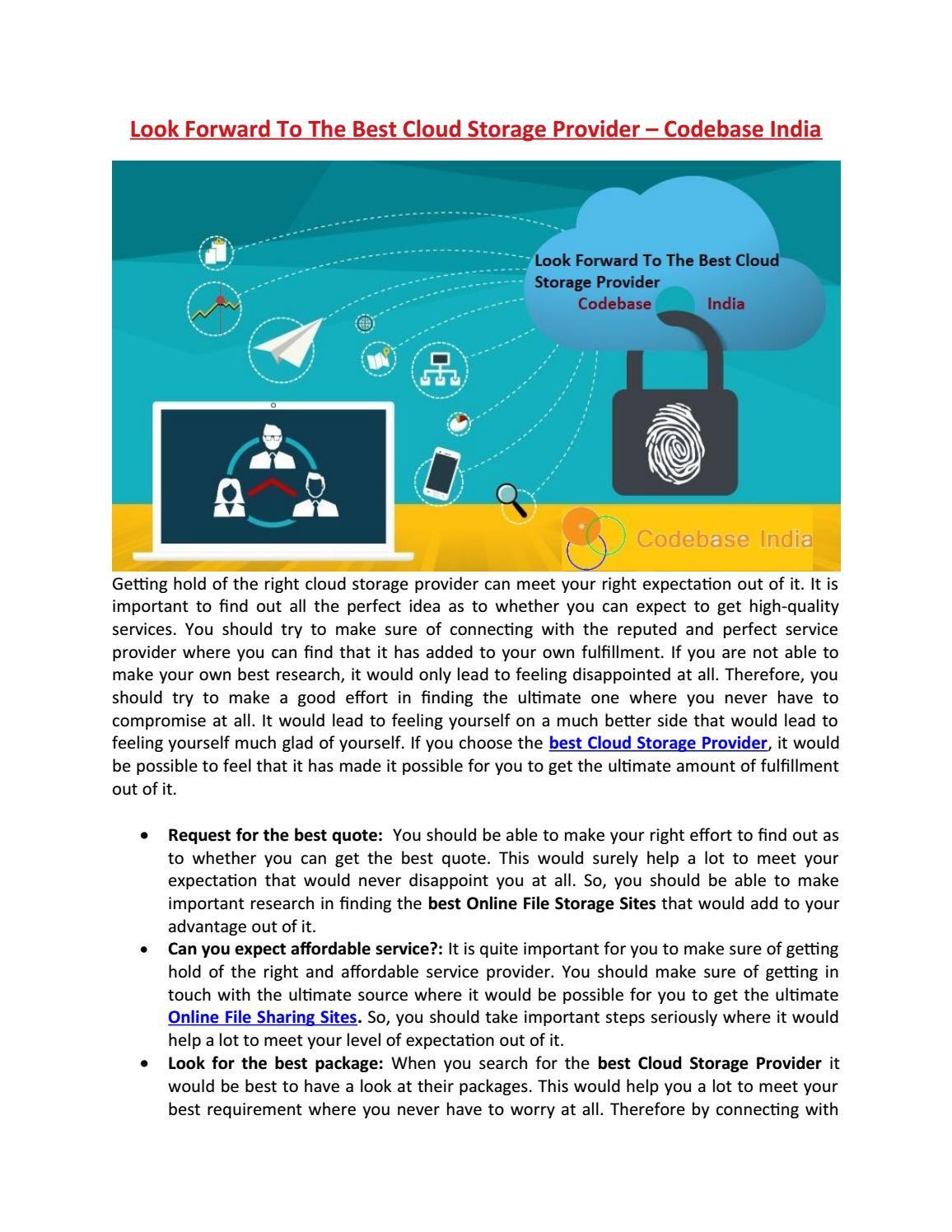 Look Forward To The Best Cloud Storage Provider – Codebase
