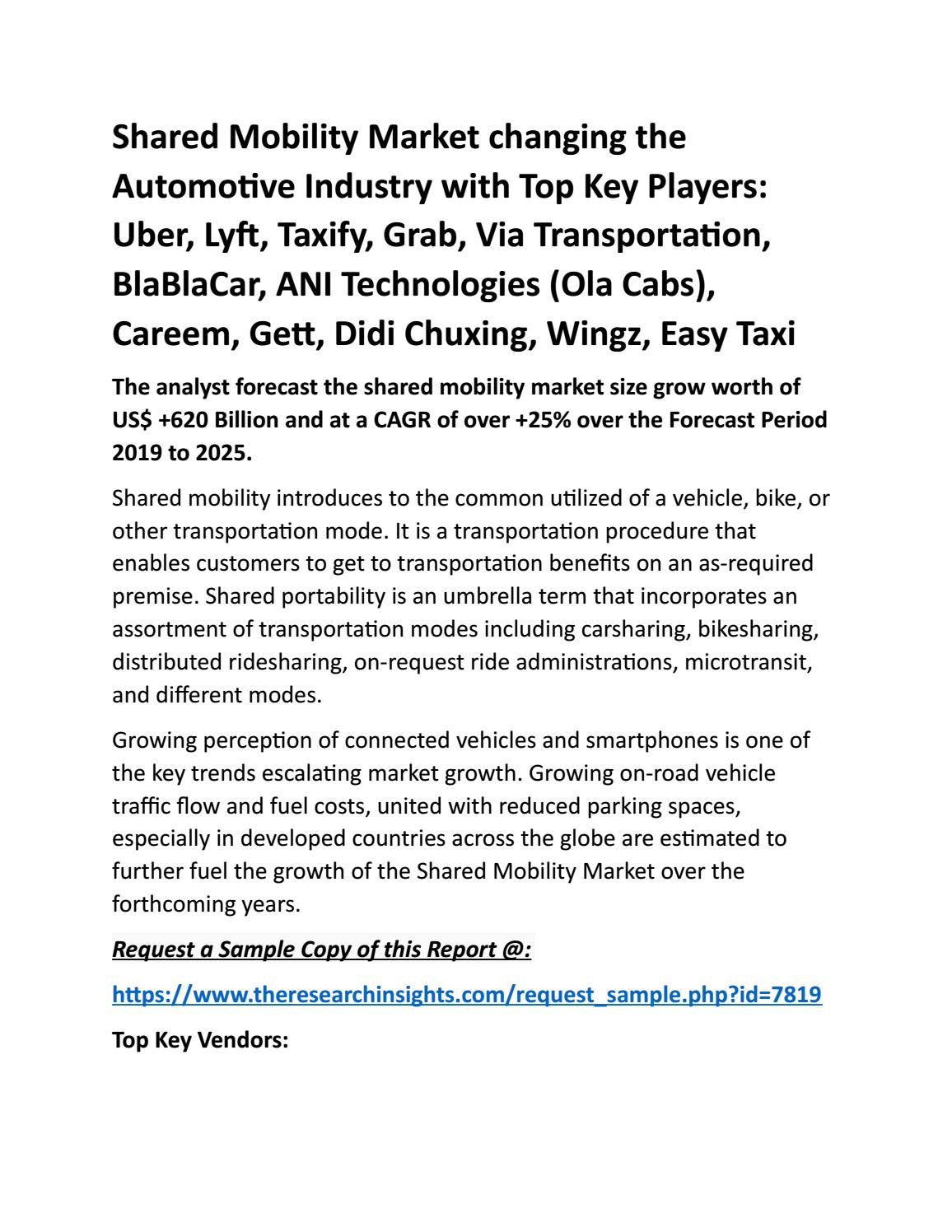 Shared Mobility Market 2019-2025 by researchinsights1 - issuu