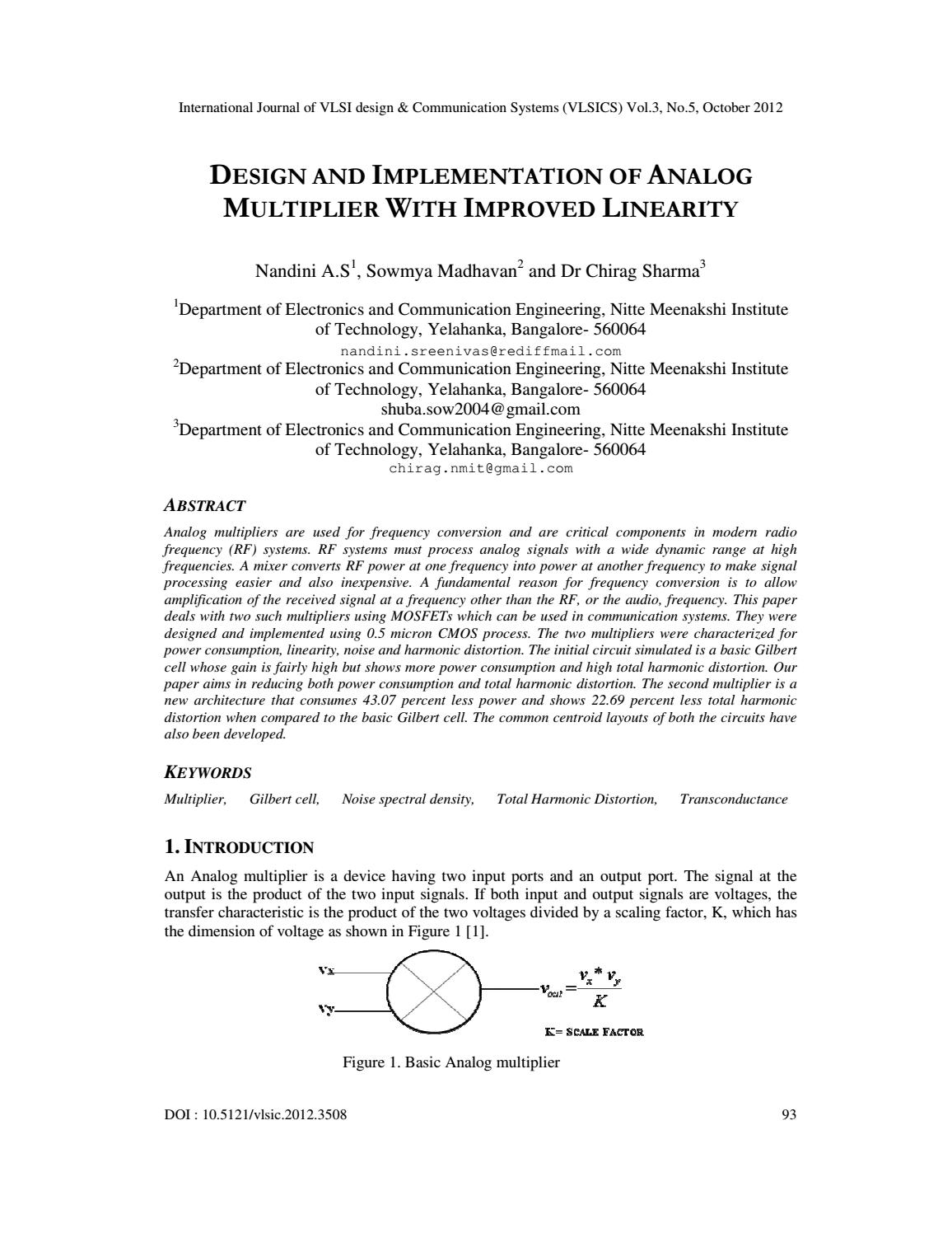 DESIGN AND IMPLEMENTATION OF ANALOG MULTIPLIER WITH IMPROVED