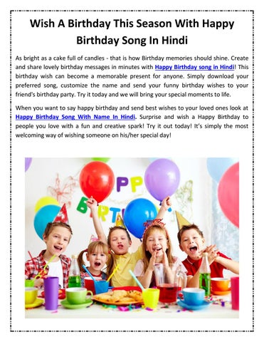 Wish A Birthday This Season With Happy Birthday Song In Hindi By Birthday Songs Issuu Download or play happy birthday to you filmy songs for children songs online on jiosaavn. happy birthday song in hindi