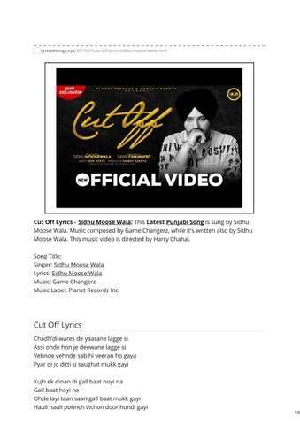 sidhu moose wala new song cut off mp3 download