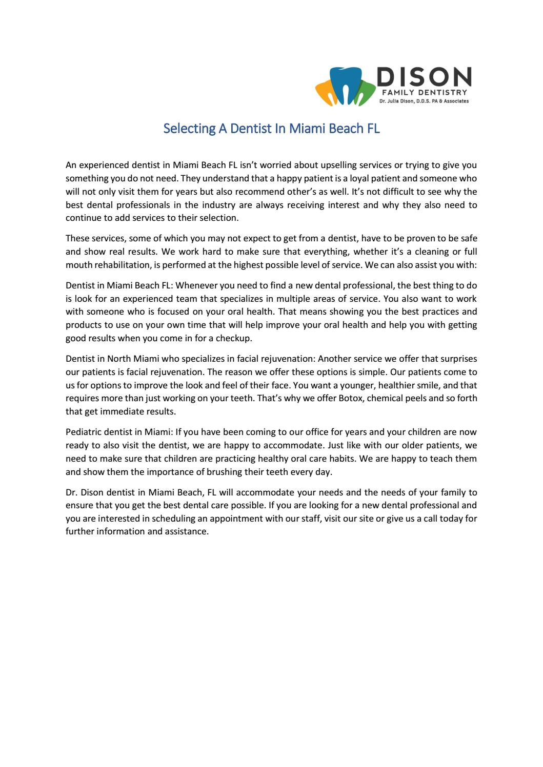 Selecting A Dentist In Miami Beach FL by Dr dison - issuu