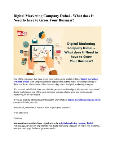 Digital Marketing Company Dubai - What does It Need to have