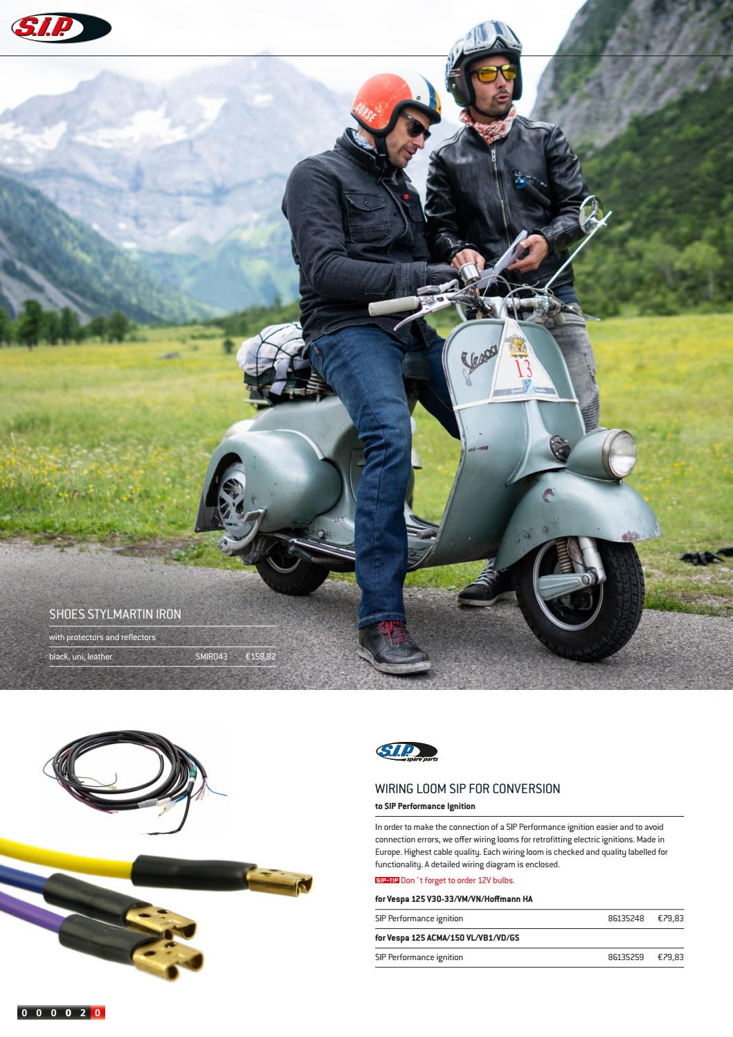 Catalogue SIP for Wideframe Vespa - Accessories & Tuning for ... on vespa v50 wiring, vespa parts diagram, vespa switch diagram, scooter battery wire diagram, electric scooter diagram, vespa dimensions, vespa frame diagram, vespa engine, vespa seats, vespa motor diagram, vespa clock, vespa 150 wiring, vespa stator diagram, vespa accessories, vespa sprint wiring,