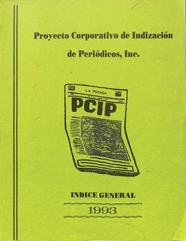 Indice General 1993 By Colección Puertorriqueña Upr Rp Issuu