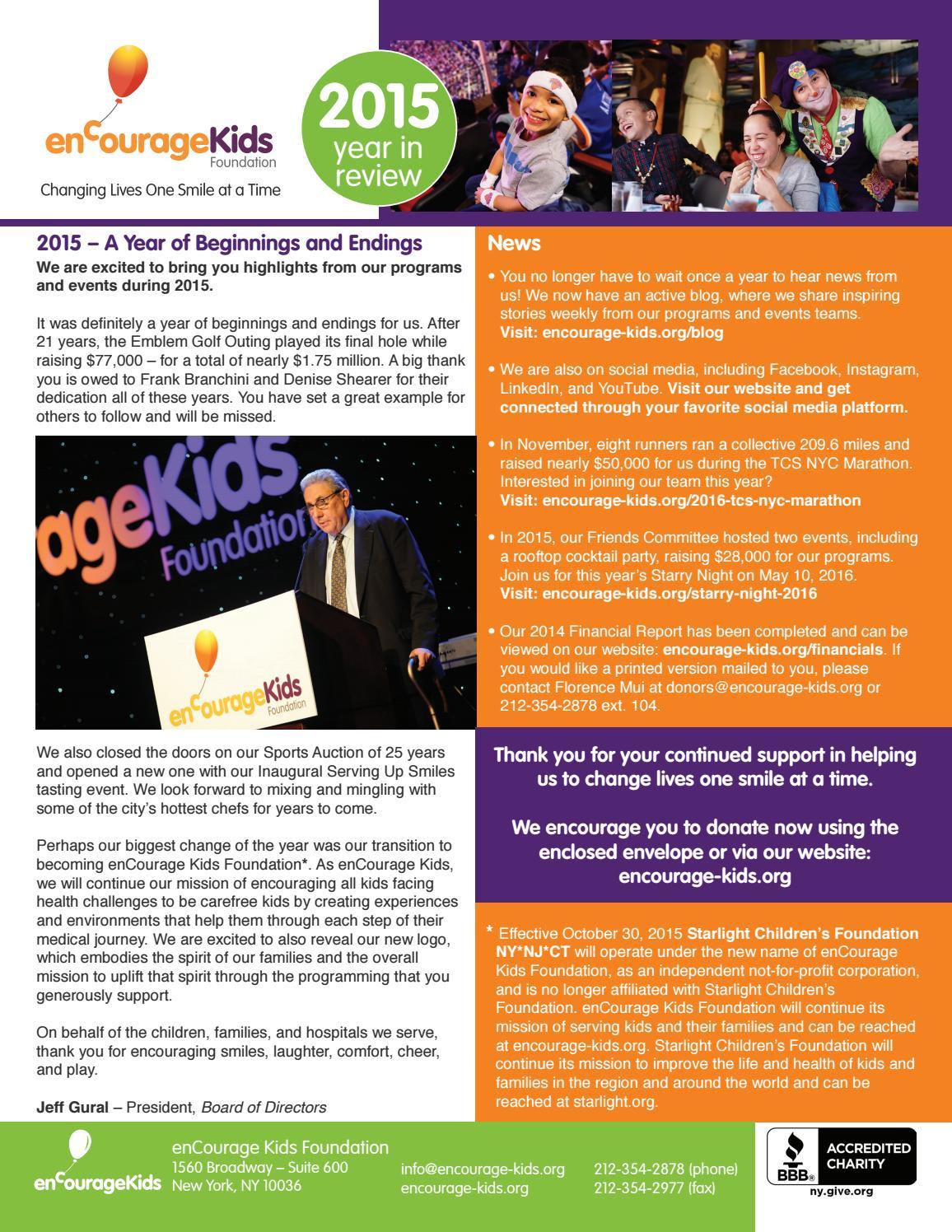 enCourage Kids' 2015 Newsletter by encourage-kids - issuu