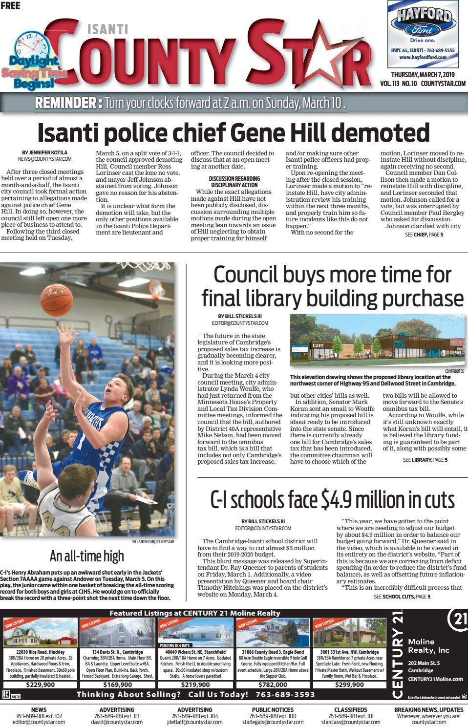 1f8de85c3 Isanti County Star March 7, 2019 by Isanti-Chisago County Star - issuu