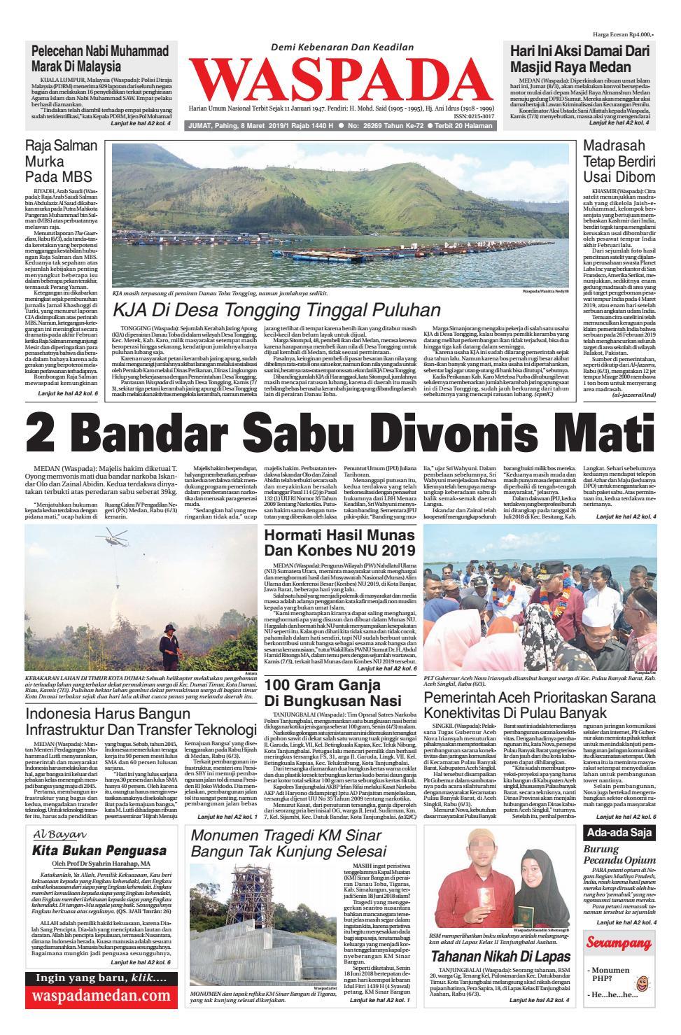 Waspada, Jumat 8 Maret 2019 by Harian Waspada - issuu