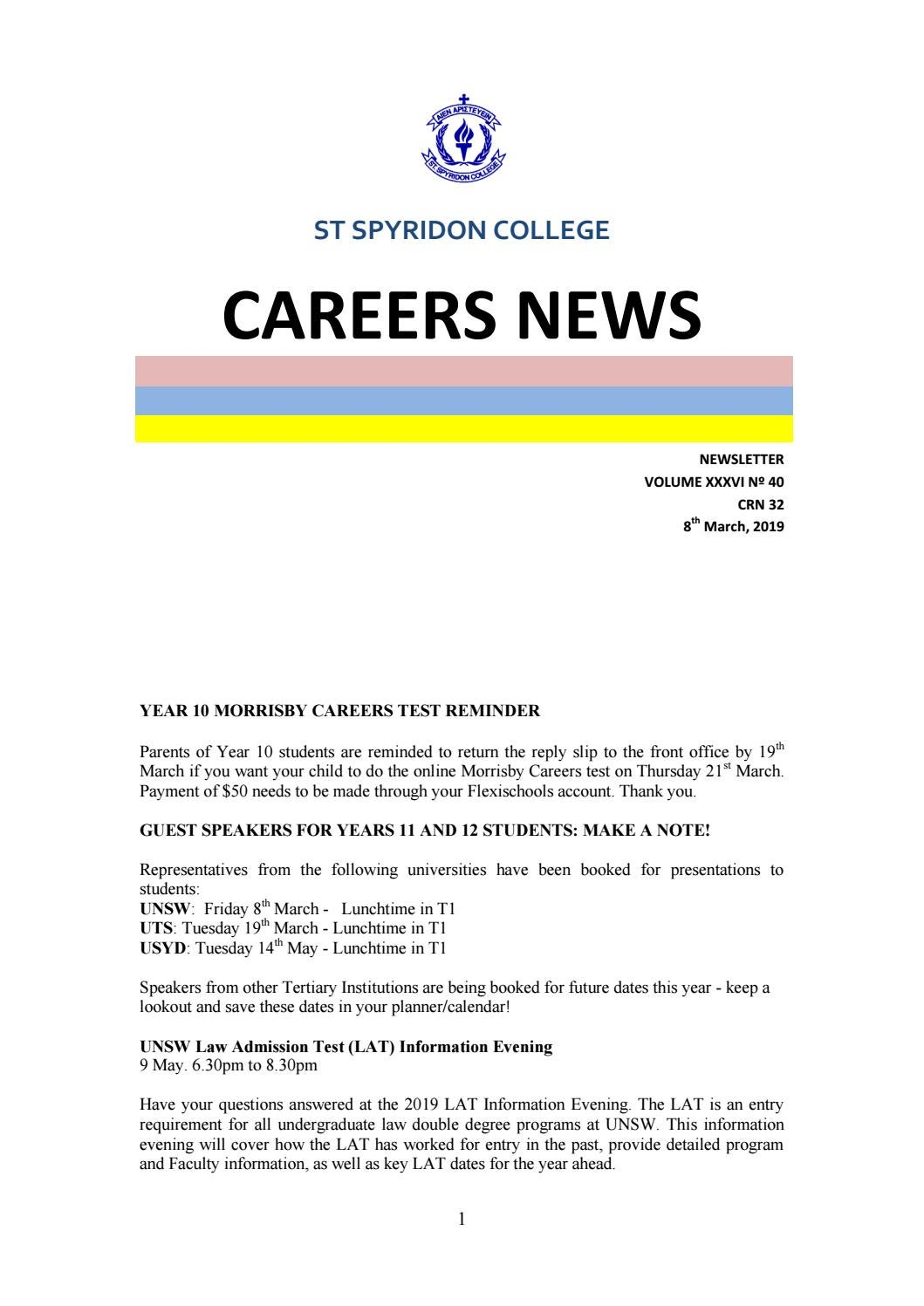 SSC Careers News 03 2019 By ST Spyridon College
