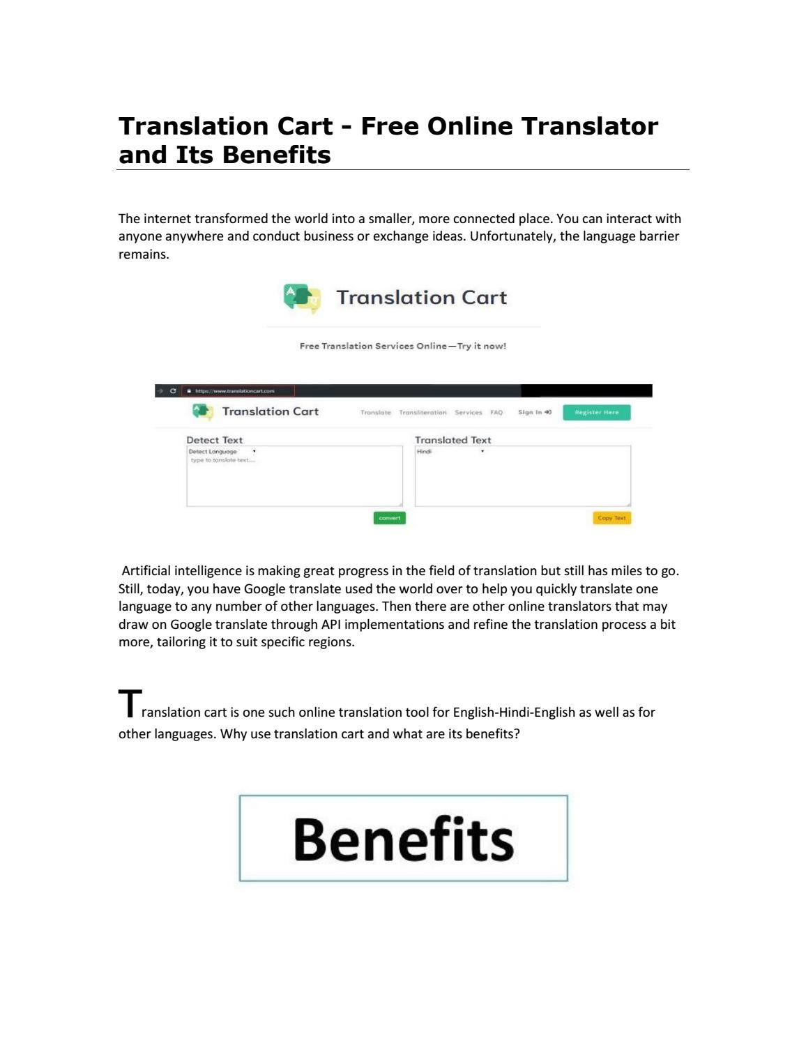 Translation Cart - Free Online Translator and Its Benefits