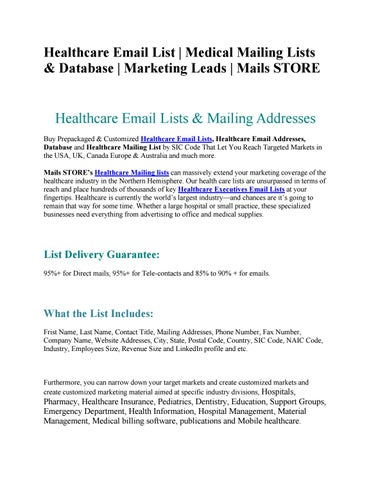 Healthcare Email List | Healthcare Email Addresses | Mails STORE by