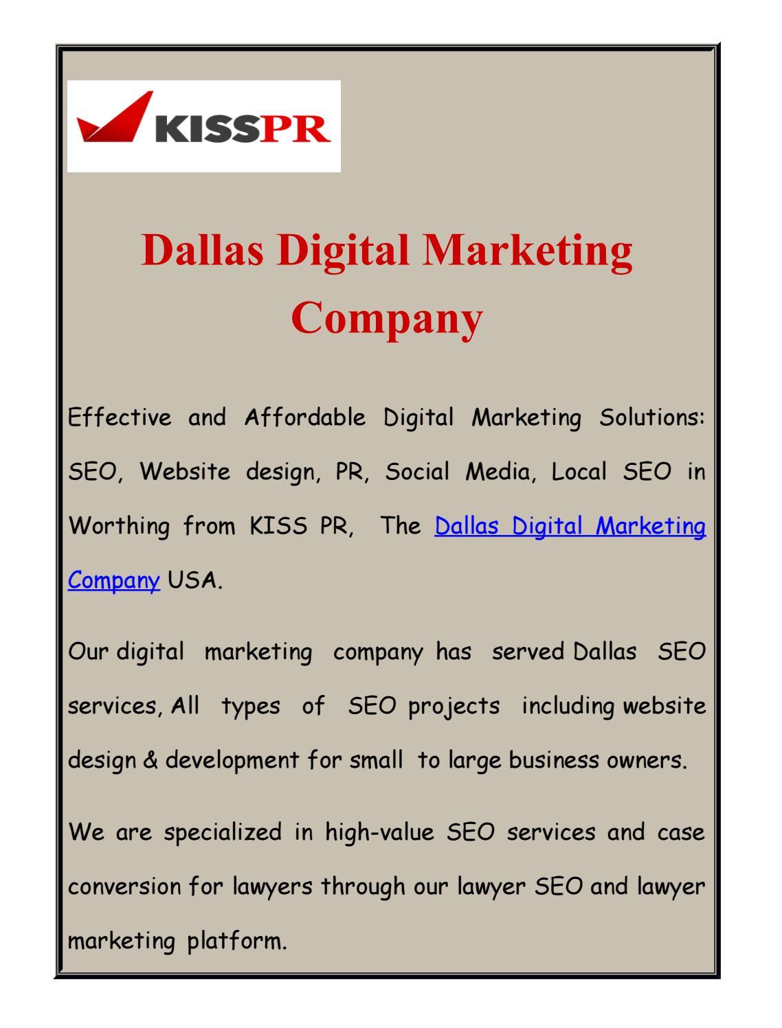 Dallas Digital Marketing Company by dallaskisspr - issuu
